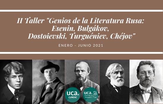 """IMG II Taller """"Genios de la Literatura Rusa"""": Bulgákov, Chéjov, Dostoievski, Esenin y Turguéniev"""